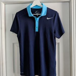Blue Nike Dri-fit Polo